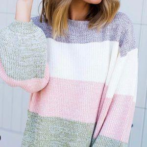 Entro Color Block Dolman Sweater Top